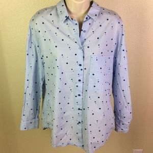 Zara - Blue Button down with Blue Stars